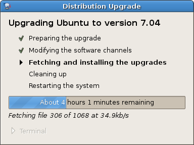 Ubuntu Upgrade - 4 hours later